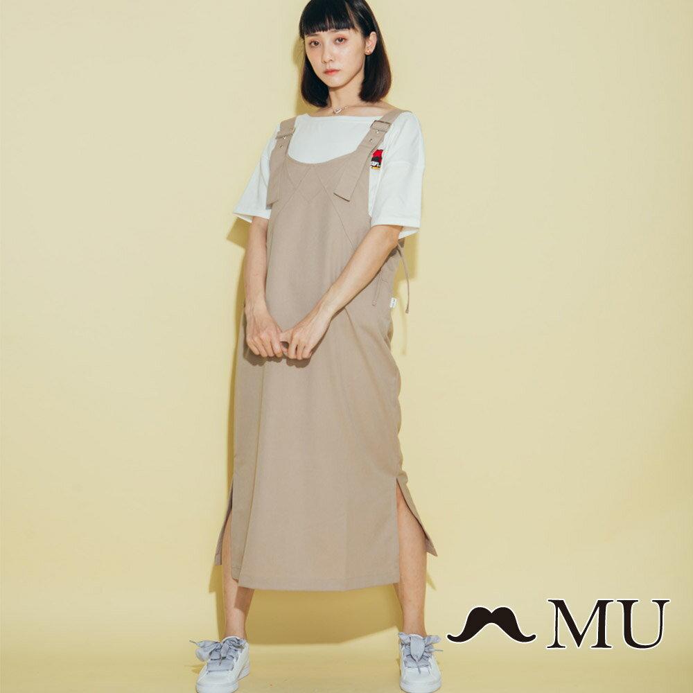 【MU】側綁蝴蝶結吊帶長裙(2色)8317161 0