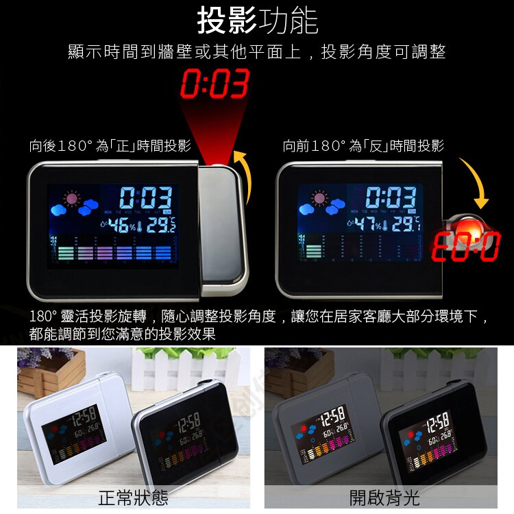 氣象投影時鐘 LCD彩屏背光溫度濕度計貪睡鬧鐘 天氣舒適度時間顯示器180度旋轉投影電子鐘【ZG0109】《約翰家庭百貨 5