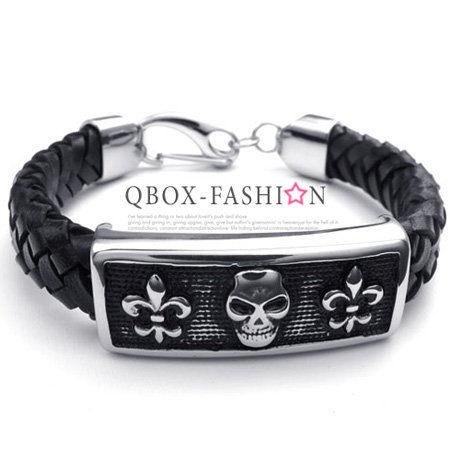 《 QBOX 》FASHION 飾【W10022532】精緻個性骷髏頭圖騰方盾皮革316L鈦鋼手鍊/手環