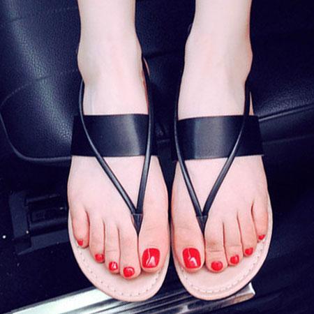 拖鞋 時尚素色皮革夾腳平底涼鞋【S1669】☆雙兒網☆ 2