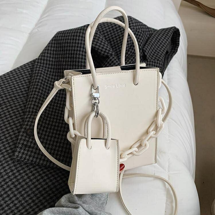 簡約包包女包新款2021網紅時尚手提包質感側背洋氣斜背包百搭ins