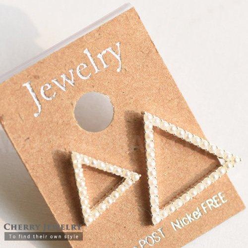 三角形幾何造型耳環10318【櫻桃飾品】【10318】