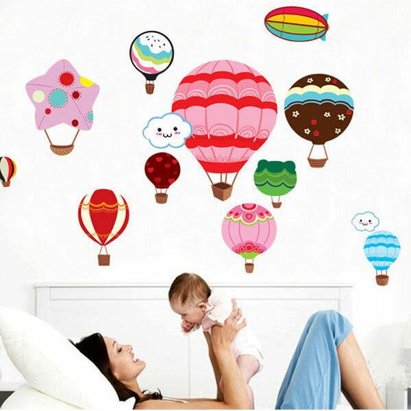 BO雜貨【YV0678】創意可移動壁貼 磁磚貼 時尚組合壁貼 居家裝潢裝飾 熱氣球 DM570074