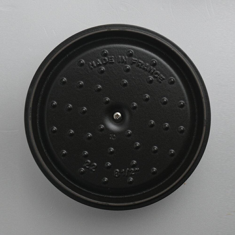 【領券折後$4499↘】【Staub】Staub 圓形琺瑯鑄鐵鍋 湯鍋 燉鍋 炒鍋 20cm 2.2L 黑色 法國製 5