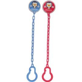 PUKU藍色企鵝 - 大頭Q夾式奶嘴鏈 (水藍/粉紅)