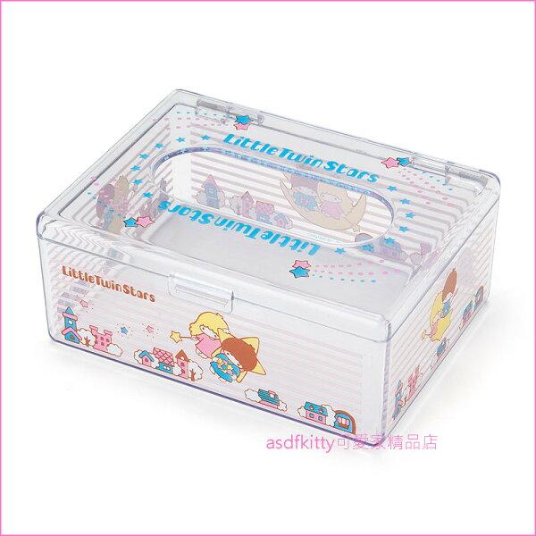 asdfkitty可愛家☆雙子星透明迷你面紙盒收納盒置物盒-日本正版商品