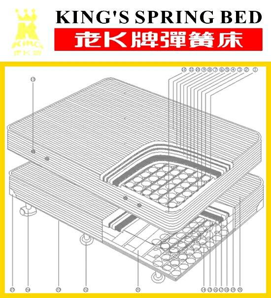 老K牌彈簧床-緹花B級下墊 (一體成型)-3*6.2