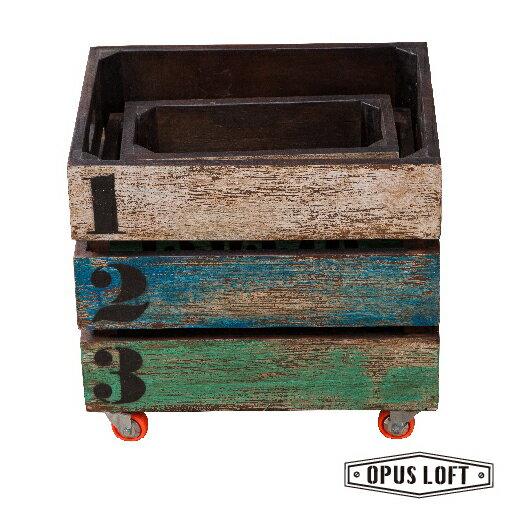 復古LOFT工業風 環保木收納置物盒・三件組・