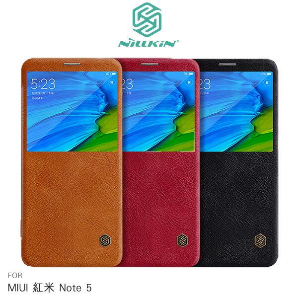 強尼拍賣~NILLKINMIUI紅米Note5秦系列開窗側翻皮套皮套手機套開窗皮套