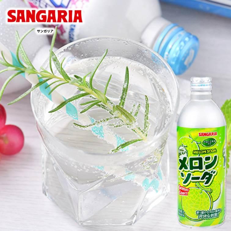 【SANGARIA】隨手罐飲料碳酸汽水-哈密瓜風味(500g) サンガリア メロンソーダ 無果汁 日本進口飲料