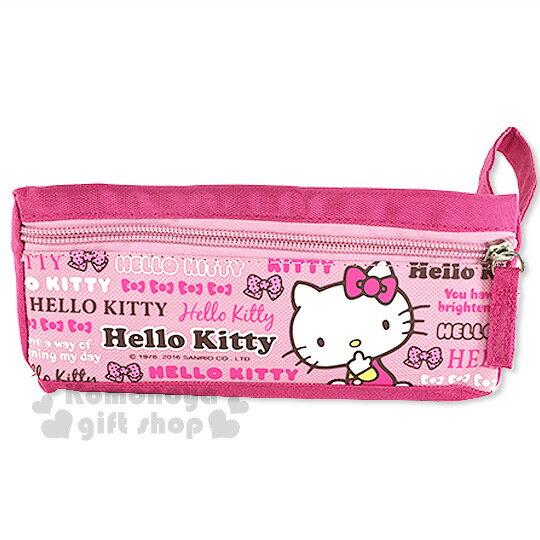 〔小禮堂〕Hello Kitty 布質拉鍊筆袋《桃.側坐.咬手指.文字滿版》