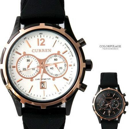 手錶 極速時光 仿賽車儀表板 橡膠腕錶 休閒 柒彩年代~NE1841~日期窗顯示