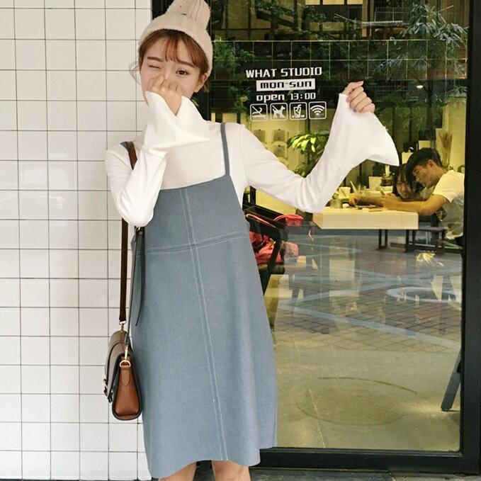 PS Mall 百搭寬鬆毛呢吊帶連身裙 洋裝~T4299~ ~  好康折扣