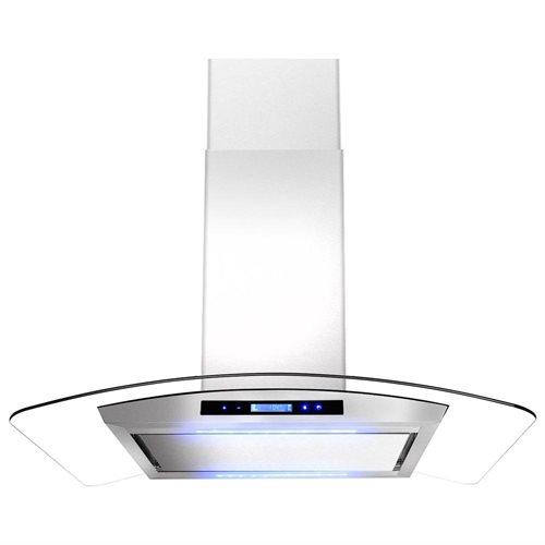 "AKDY 30"" GV-GL9005P-30 Stainless Steel Kitchen Island Range Hood w/Flat Baffle Filters 0"