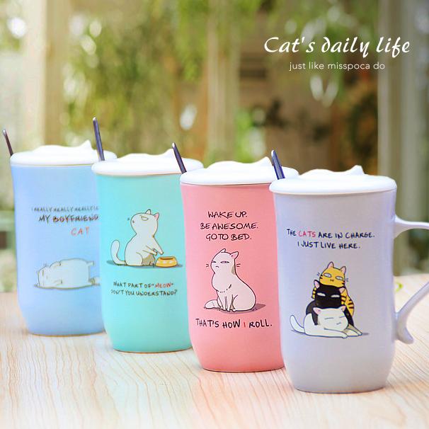 ~波卡小姐~ !超有戲美式手繪喵星人 馬克杯 附杯蓋湯匙    可愛貓咪咖啡.牛奶.水杯