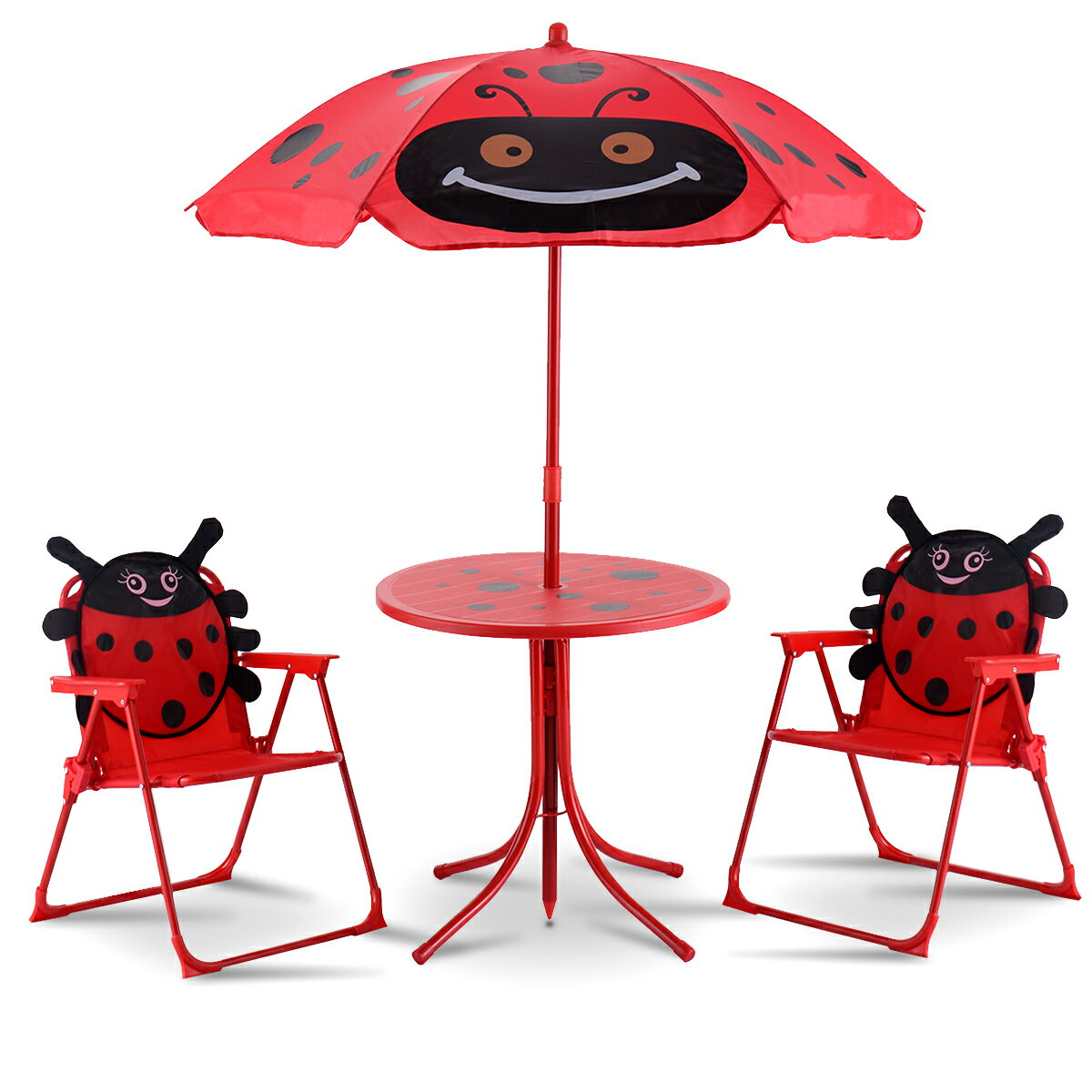 Fabulous Costway Kids Patio Set Table And 2 Folding Chairs W Umbrella Beetle Outdoor Garden Yard Machost Co Dining Chair Design Ideas Machostcouk