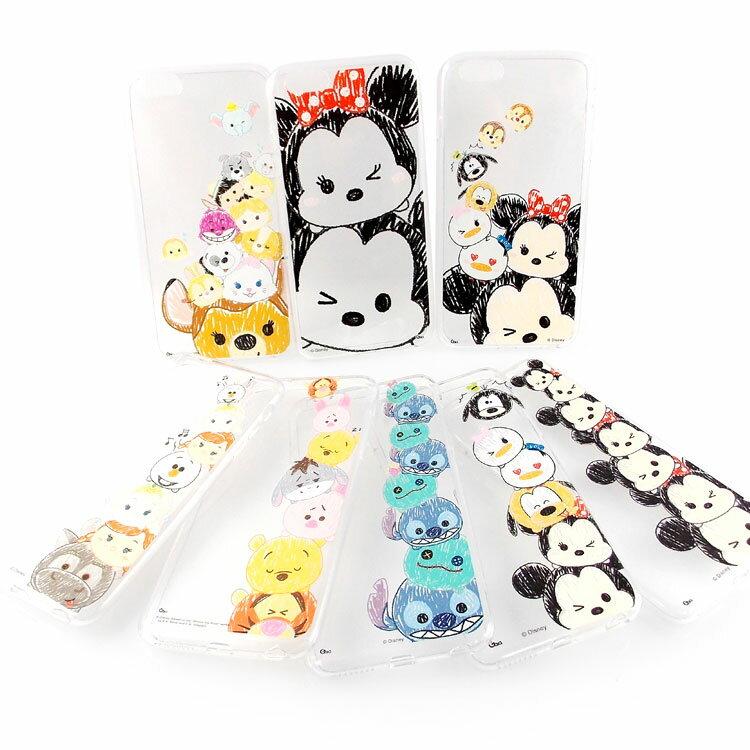 【Disney 】iPhone 6 Plus/6s Plus TSUM TSUM可愛透明保護軟套-塗鴉系列