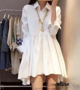 收腰寬鬆시퐁셔츠襯衫 燕尾連衣시퐁셔츠襯衫裙十天預購+現貨