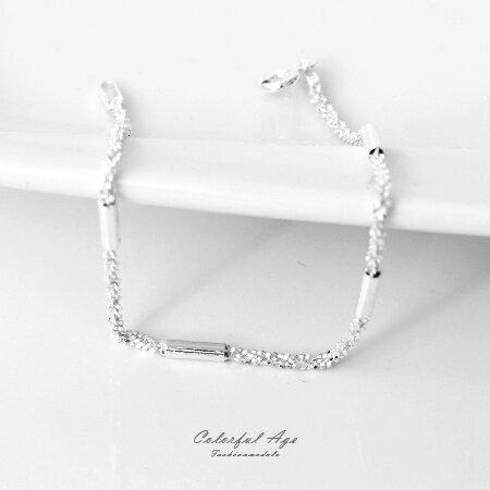 925純銀手鍊 完美浪漫細砂質感手環 可混搭手錶飾品或單配 柒彩年代【NPA14】銀管為固定不可滑動 0