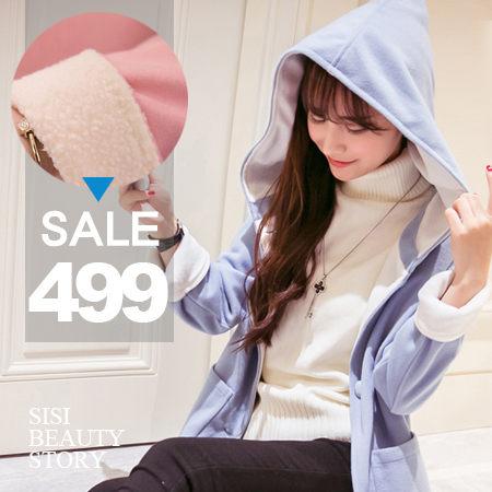 SISI【C5048】敲口愛韓版學院風馬卡龍撞色羊毛呢連帽中長款加厚大衣外套