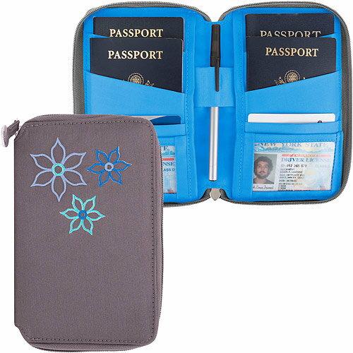 《TRAVELON》Bouquet繡花拉鍊防護證件護照夾(灰)
