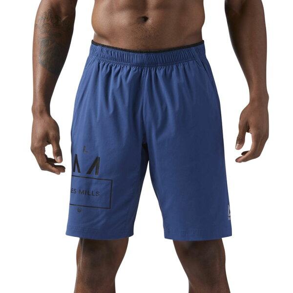 REEBOKLESMILLS10IN男裝短褲慢跑訓練透氣舒適藍【運動世界】CD6179