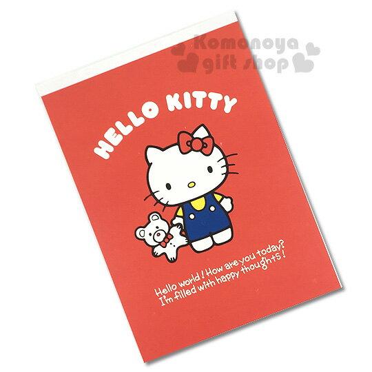 〔小禮堂〕Hello Kitty 日製便條本《A6.紅.站姿.小熊》