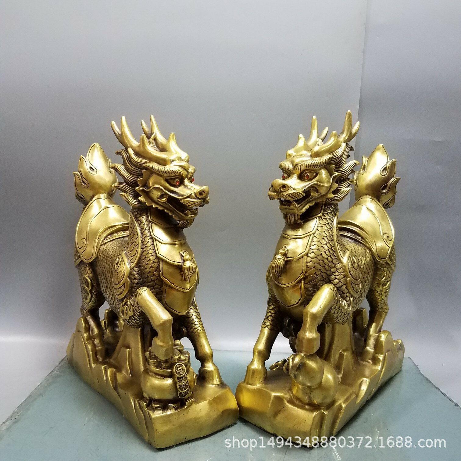 純銅精工聚寶盆葫蘆麒麟風水擺飾黃銅擺件辦公室擺飾裝飾品家居【艾莎嚴選】