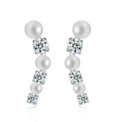 ~純銀耳環鍍白金鑲鑽耳飾~ 精緻耀眼氣質生日情人節 女飾品73cr327~ ~~米蘭 ~