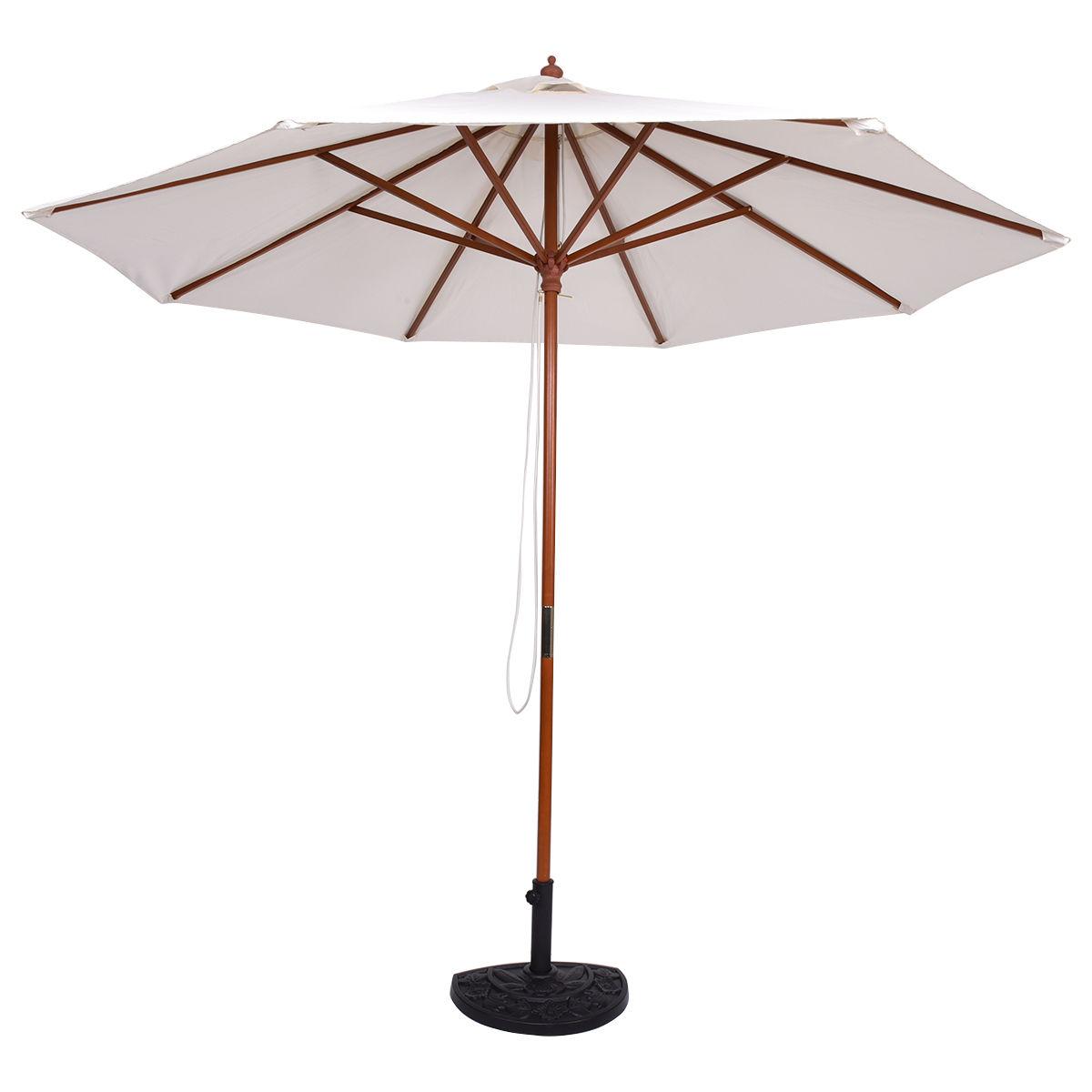 Costway Adjustable 9FT Wooden Patio Umbrella Wood Pole Outdoor Garden Sun  Shade Beige 1