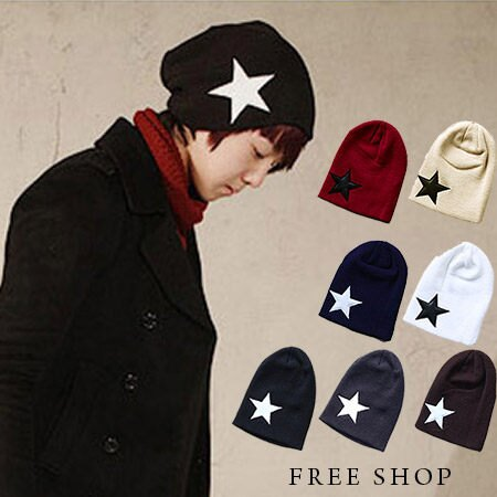 Free Shop~QTJS33~日韓系潮流街頭星星皮革圖案反摺層次 針織毛線帽‧七色 情