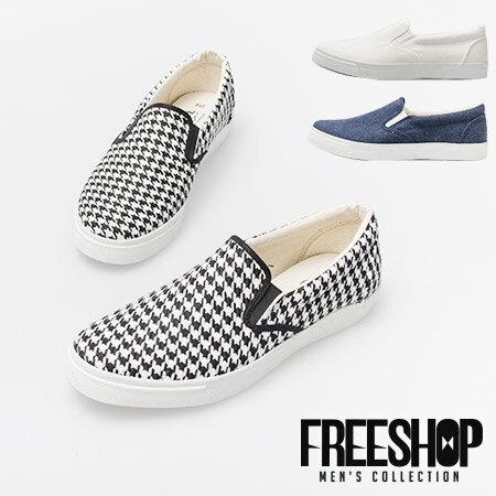 Free Shop~QSH0233~日韓系雅痞鬆緊帶 低筒帆布鞋休閒懶人鞋‧三色 ^(UP