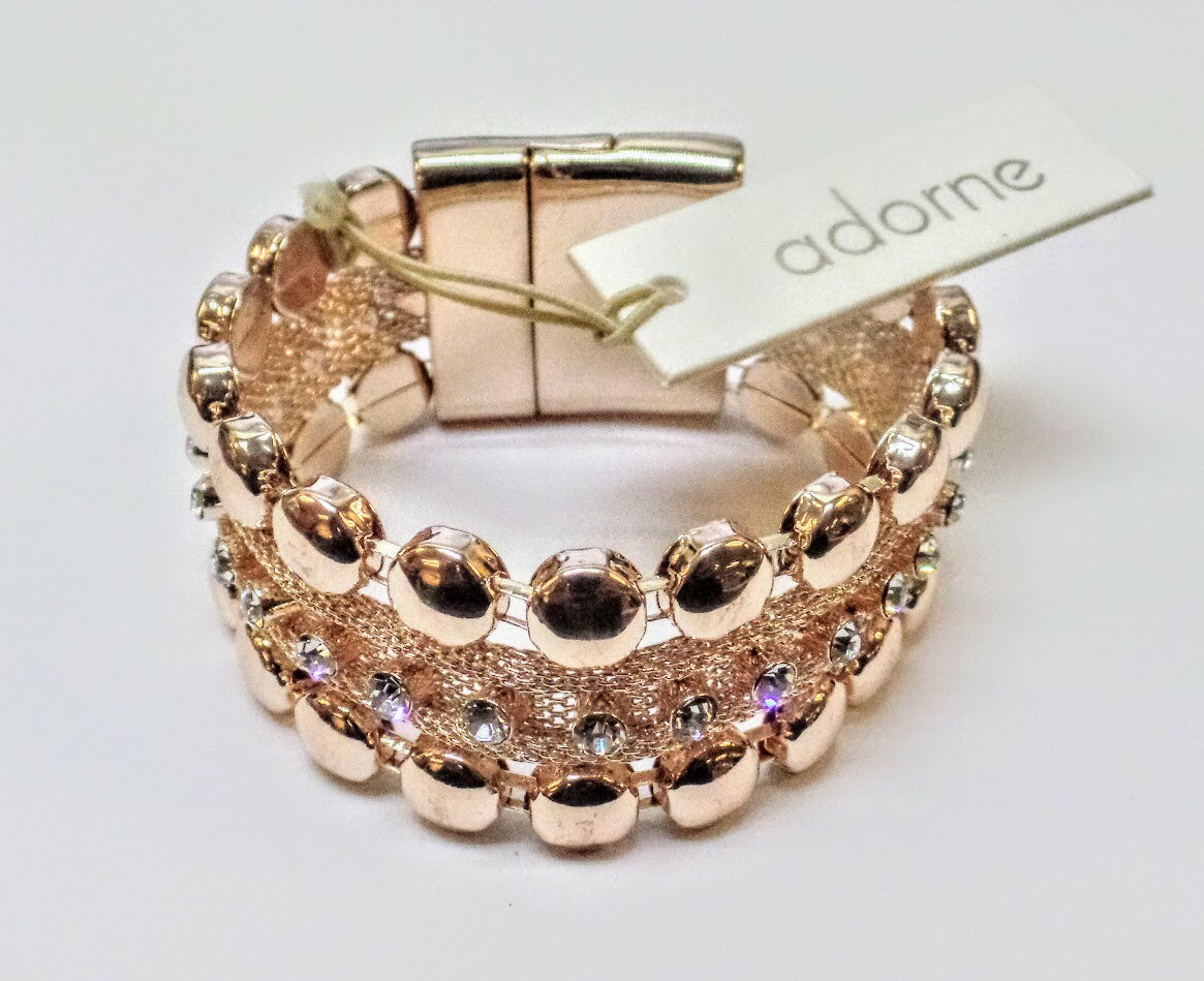 Adorne Metal Mix & Diamante Cuff with Magnetic Closure- Rose OR Matching Neclace 0