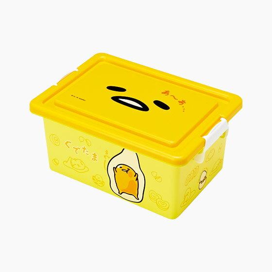 【真愛日本】16091000043方形收納箱S-GU大臉黃  三麗鷗家族 蛋黃哥 Gudetama  收納盒 置物 日用品