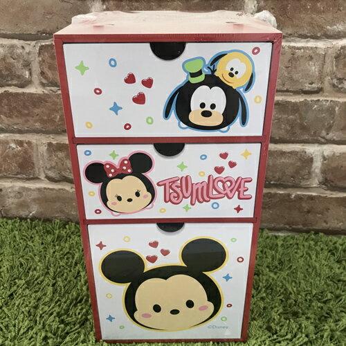 【真愛日本】17091200003 直式三抽盒-TSUM米奇 迪士尼 米老鼠米奇 米妮 抽屜櫃 木製 收納盒