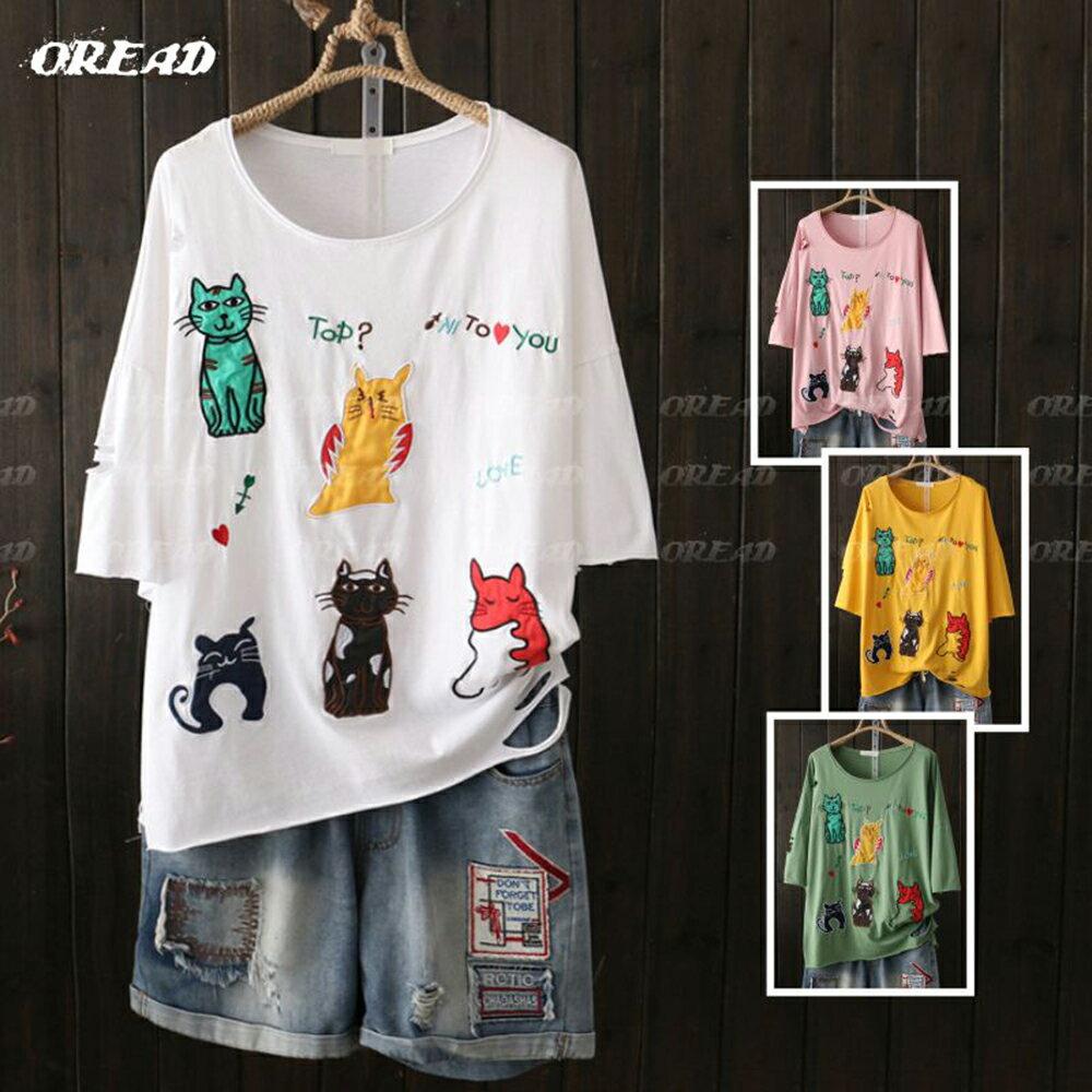 可愛多彩貓咪刺繡短袖上衣(4色F碼) *ORead* 1