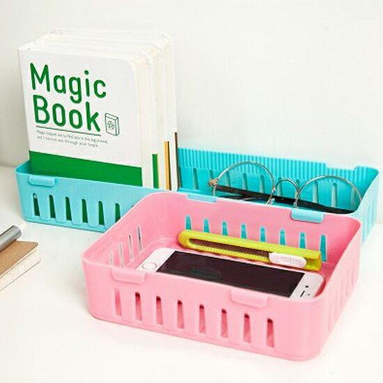 ♚MY COLOR♚卡扣式桌面置物籃(大) 抽屜 疊加 收納 整理 分類 冰箱 廚房 客廳 書桌【G35】