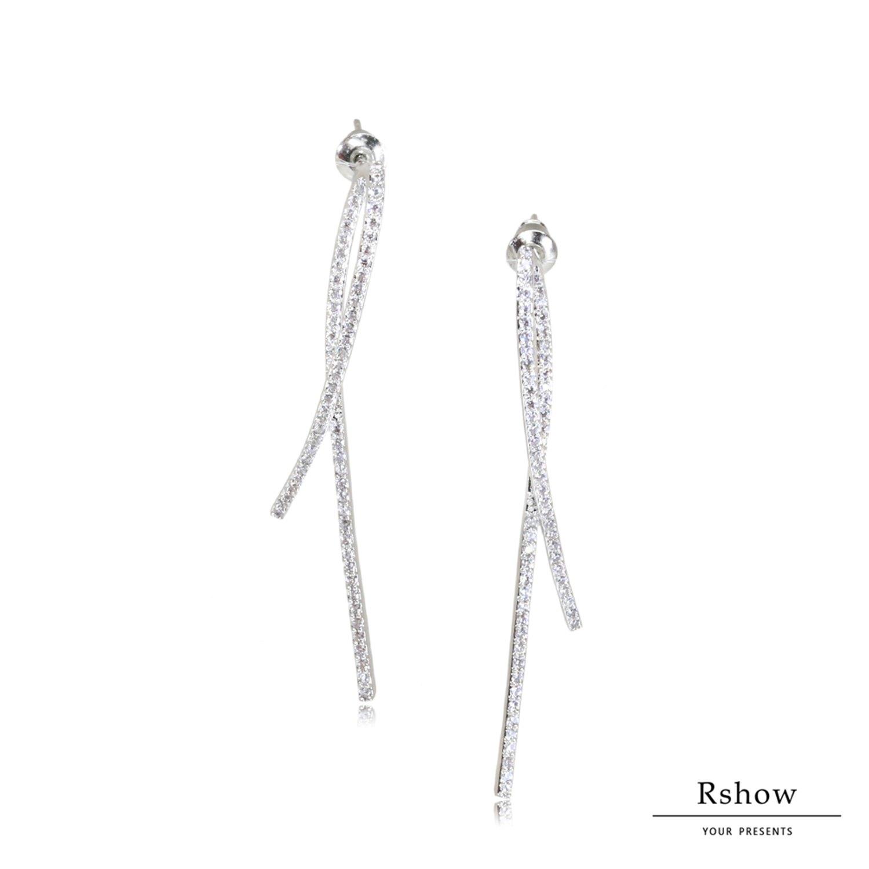 【Rshow】銀色法式絲帶 微鑲曲線 水鑽耳環 1