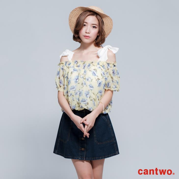 cantwo雪紡印花兩件式短袖上衣(共三色) 0