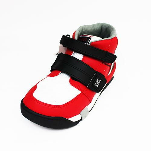 Moonstar日本品牌機能抗菌除臭矯正鞋中高筒運動鞋魔鬼氈童鞋附贈鞋墊CRC21402紅[陽光樂活]
