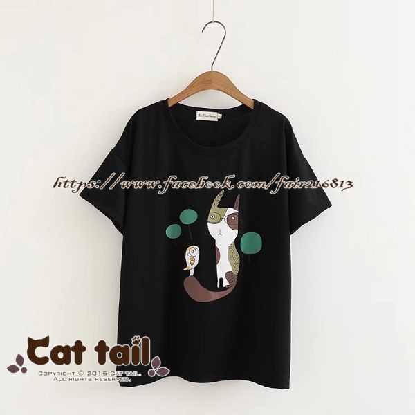 《貓尾巴》TS-0745日系小清新貓咪印花短袖T恤(森林系日系棉麻文青清新)