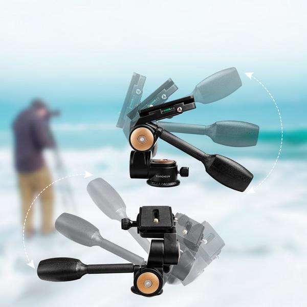 Double Handle Camera Tripod Head 360 Degree Hydraulic Damping Ball Head 2