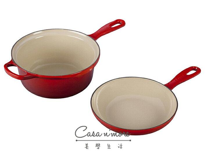 LE CREUSET 鑄鐵鍋 醬汁烤盤兩用鍋 多功能燉煮鍋 22 cm 櫻桃紅