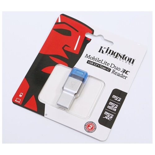 Kingston FCR-ML3C MobileLite Duo 3C Dual Interface USB 3.1 Type C / Type A microSD External Card Reader fit Kingston SanDisk Samsung microSDHC microSDXC TransFlash TF 0
