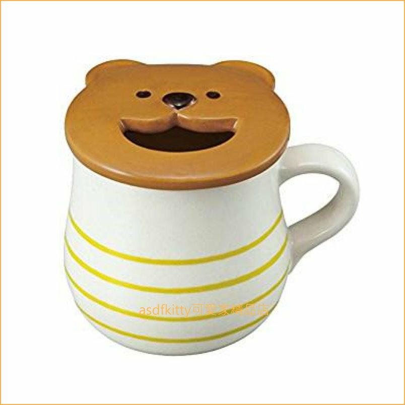 asdfkitty可愛家☆小熊有蓋陶瓷馬克杯-杯蓋有洞.方便放湯匙或加糖.奶...等-可微波-日本正版商品