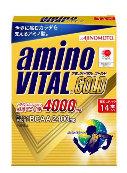 【橘町五丁目】[公司貨]限量促銷! BCAA 日本大廠AJINOMOTO生產 ajinomoto amino VITAL GOLD黃金級4000mg 胺基酸粉末 (4.7g*14包)-免運! 保存期限到 2019.01.11
