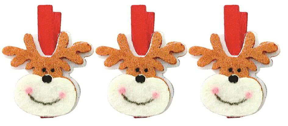 X射線【X077306】麋鹿夾子(3入),聖誕節/聖誕佈置/聖誕掛飾/聖誕裝飾/聖誕吊飾/聖誕花材