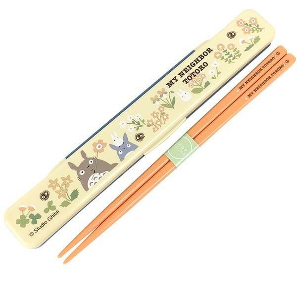 【真愛日本】 16090100005日本製靜音筷子附盒-龍貓花卉  龍貓 TOTORO 豆豆龍 餐具組 日本製 食器