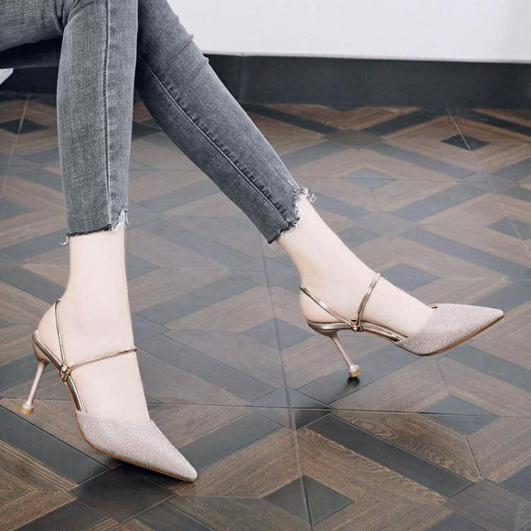包頭懶人半拖鞋女外穿夏季新款細跟兩穿網紅涼拖鞋尖頭氣質高跟鞋 摩可美家