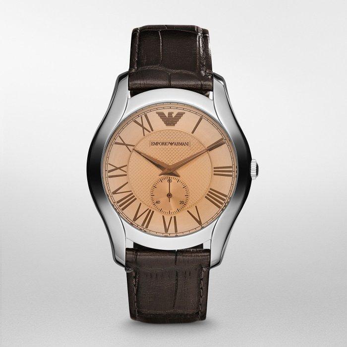 美國百分百【Emporio Armani】配件 手錶 腕錶 男錶 EA AR1704 不鏽鋼 咖啡 鱷魚皮錶帶 H929